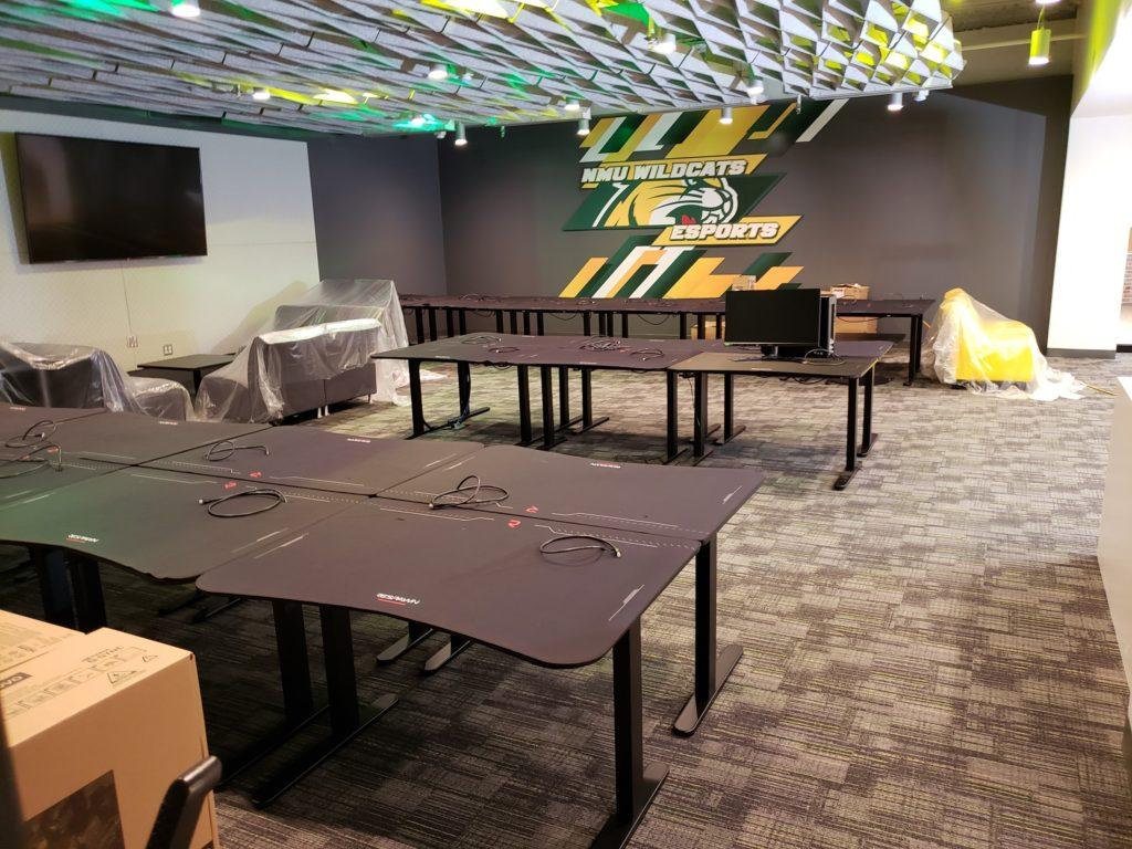 TIME TO PLAY THE GAME—Here is the brand new gaming setup for the NMU Esports team in Harden Hall. Now the wait is on from COVID-19 to when they can use it. Photo courtesy of Mark Kirkendall.