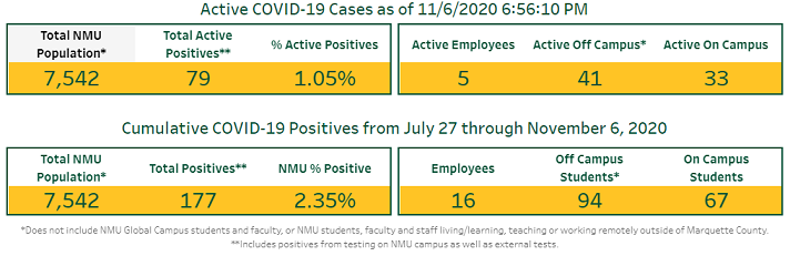 Photo courtesy of the NMU Safe on Campus dashboard.