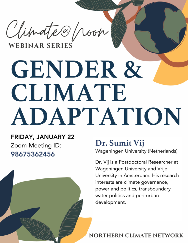 Climate@Noon event flyer for Gender and Climate Adaptation