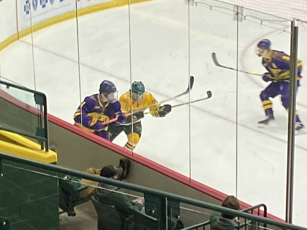 TAKING THEIR LUMPS—The Wildcats had a tough time handling the fifth-ranked Mankato Mavericks, losing a combined 9-0 in the two-game series. Travis Nelson/NW