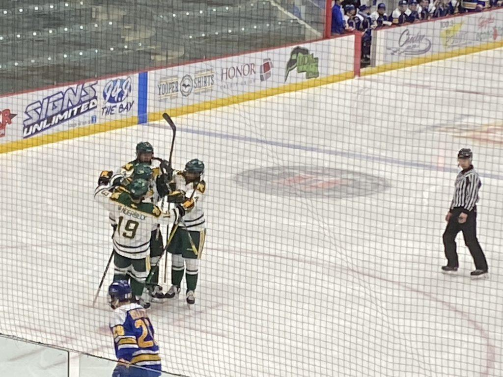 COLLAPSING CATS—NMU was in complete control of Saturdays night until penalties and a furious Lakers comeback did them in. Travis Nelson/NW