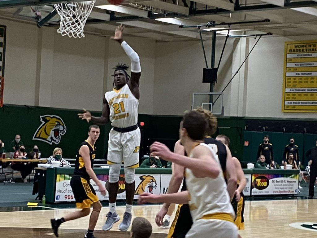 NOT ENOUGH OFFENSE—A great defensive effort was not enough for the NMU Mens Basketball team, as its struggled offense fell flat in a 61-52 home loss to Michigan Tech. Travis Nelson/NW