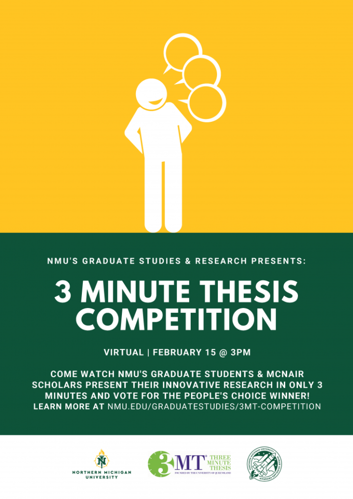 Photo courtesy of Graduate Studies and Research  THREE MINUTE THESIS - The Three Minute Thesis event will still be held this year despite the pandemic and instead be held virtually to keep everyone safe while still holding the event.