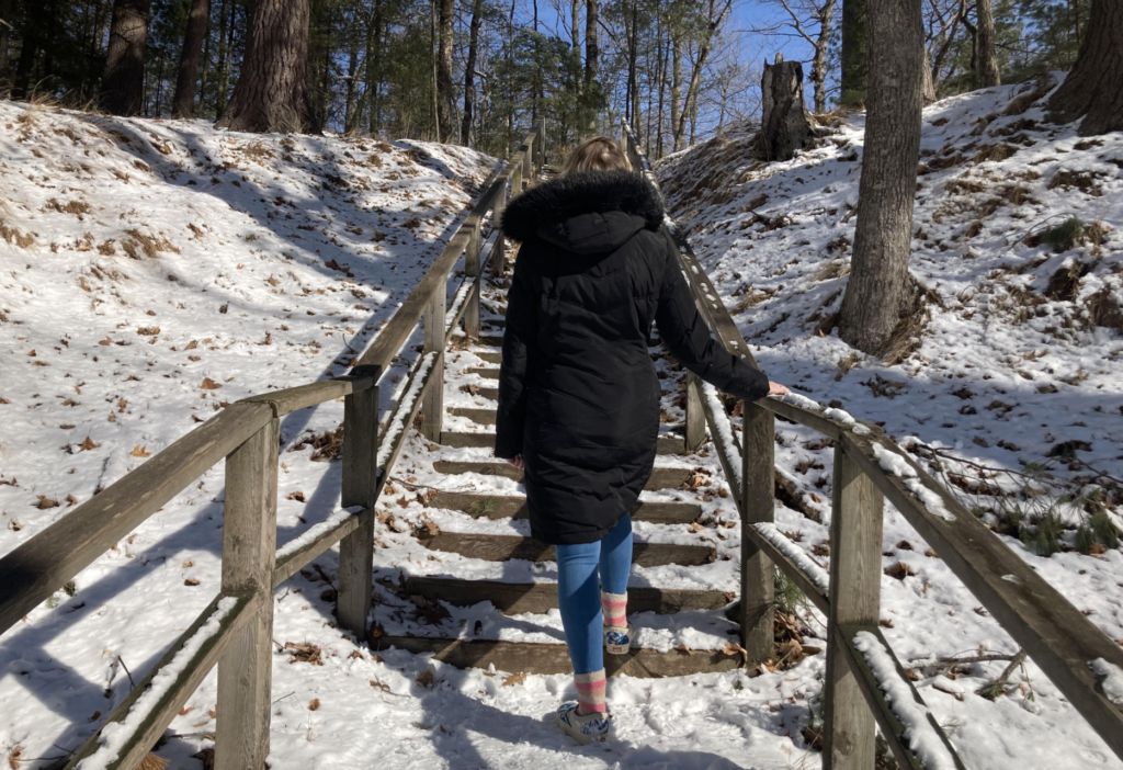 A photo of someone on the set of stairs at Presque Isle