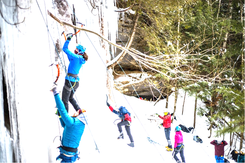 Photo courtesy of  David Hixenbaugh COLD CLIMBING— RE253, intro to ice climbing is offered twice a year during the winter semester. Students travel to Munising and learn how to ice climb in the field.  COLD CLIMBING-- RE253, intro to ice climbing is offered twice a year during the winter semester. Students travel to Munising and learn how to ice climb in the field.