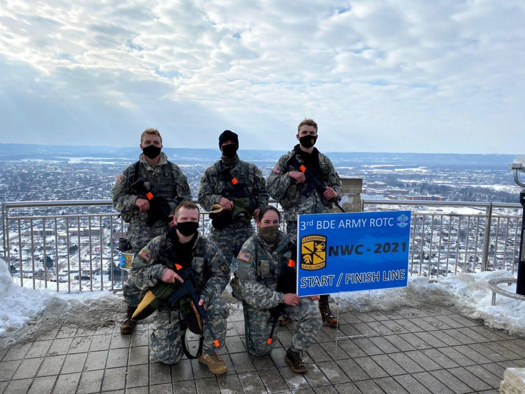 Photo courtesy of Lt. Col. Timothy Harris. AT THE FINISH LINE—The cadets finished all the events in around seven hours, placing 9th among 29 total teams. The event takes place in Lacrosse Wisconsin over the weekend.