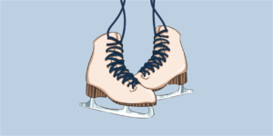 Graphic of two ice skates on a light blue background
