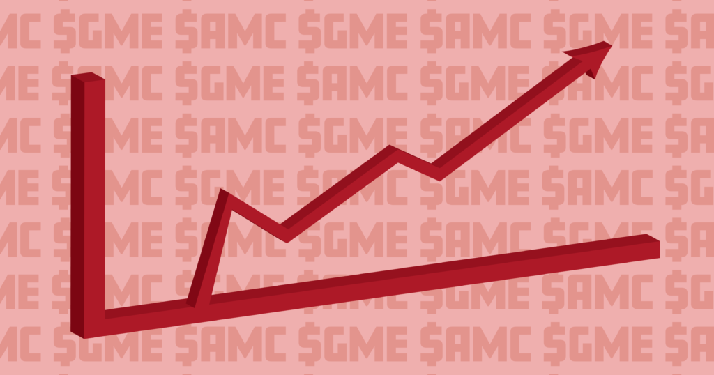 A graphic of a stock market line rising.