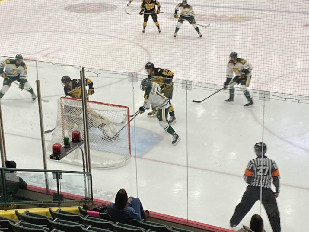 WCHA SEMIFINAL TRIP—NMU scored two goals against Michigan Tech back on Feb. 27, and the Wildcats had no trouble scoring this past weekend against Bowling Green. Now with Minnesota State awaiting them in the WCHA Tournament Semifinals, a similar performance would do the Cats wonders. Travis Nelson/NW