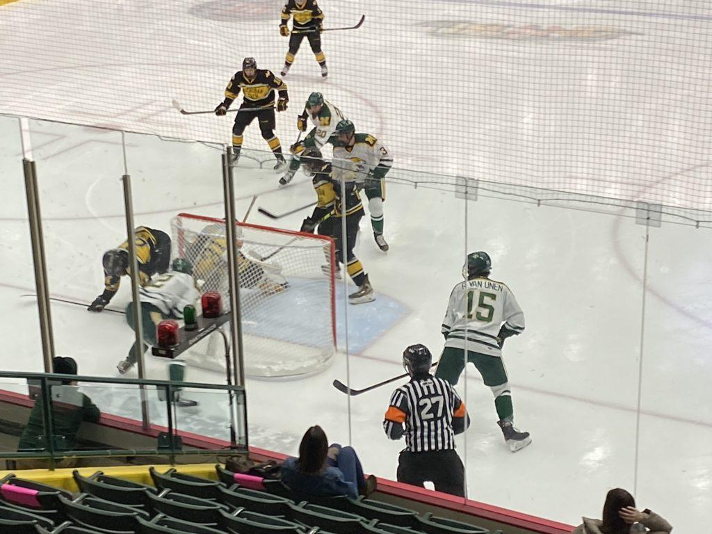 HOCKEY MARCH MADNESS—The Wildcats looking to score against Michigan Tech back on Saturday, Feb. 27. NMU sets its sights on Bowling Green, who they meet in the first round of the WCHA Tournament. Travis Nelson/NW
