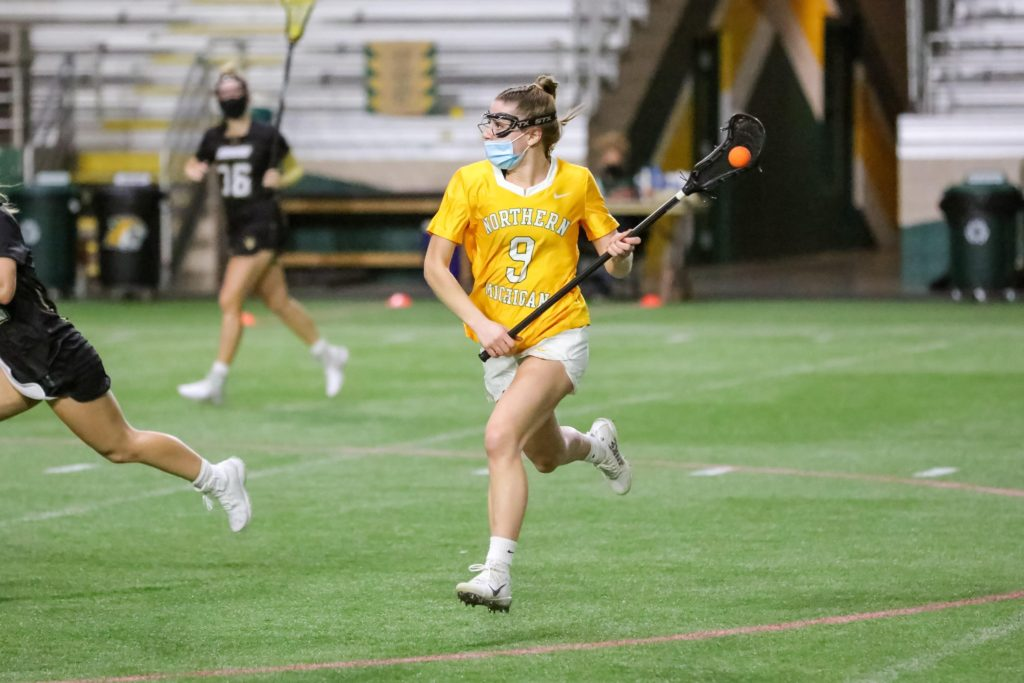 GLIAC PLAY UNDERWAY—The NMU Womens Lacrosse team heads into conference action with a match against Concordia-St. Paul. Photo courtesy of Emily Renfrew.