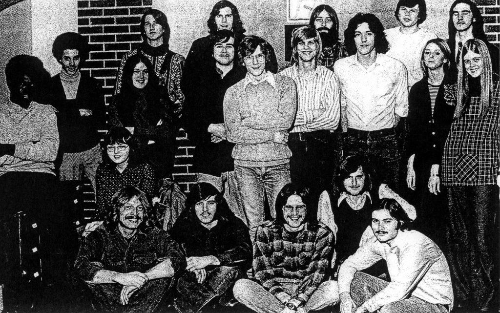 Photo courtesy of George Young  RETRO RADIO— (First row)Dan Kalinowski, (left) John Priest, Rick Finch, Bob Miller, (second row) Melvin Tounsel, Barb Donnely, Kim Maddox, (Third row) Richard Wolfolk, Judy Berner, Tom McCord, Dave Hoffsten, Jeff Saino, Paul Mumma, Phyllis Drake, Marilyn Grimm, (last row) Buzz Young, Mike Ault, Bruce Peek, Mike Curtis, Tim Ellis, Mary Greenway, Frank Klim, Renee Knott, Dave Korhonen, Ken Krom, Mike McCoy, Tom Neal, Kim Rancourt, Dan Rose, Mike Styke, Todd Swanboro, Morris Williams, Dr. Robert Maust, Dr. George Lott.Former students and advisors of radio X, known then as WBKX, in the 1970s pose for a group photo.