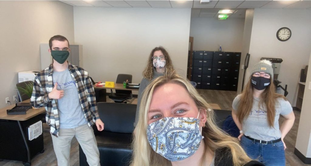Photo courtesy of Mackenzie Meyer GIFTING GOODNESS— Jakob Lippert (left), Dallas St. Onge, Mackenzie Meyer, Amber Essenmacher (right). The CSE staff has been planning Spread Goodness Week since January. The book drive is a way to spread goodness by spreading knowledge.