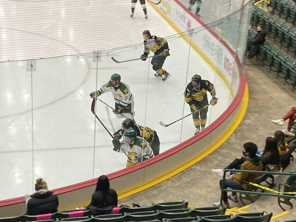 CONFIDENT CATS—The NMU Hockey goes for the puck in a Feb. 27 game against Michigan Tech. The Wildcats have played much better as of late, and are a confident bunch after defeating Bowling Green in the first round of the WCHA Tournament. Travis Nelson/NW