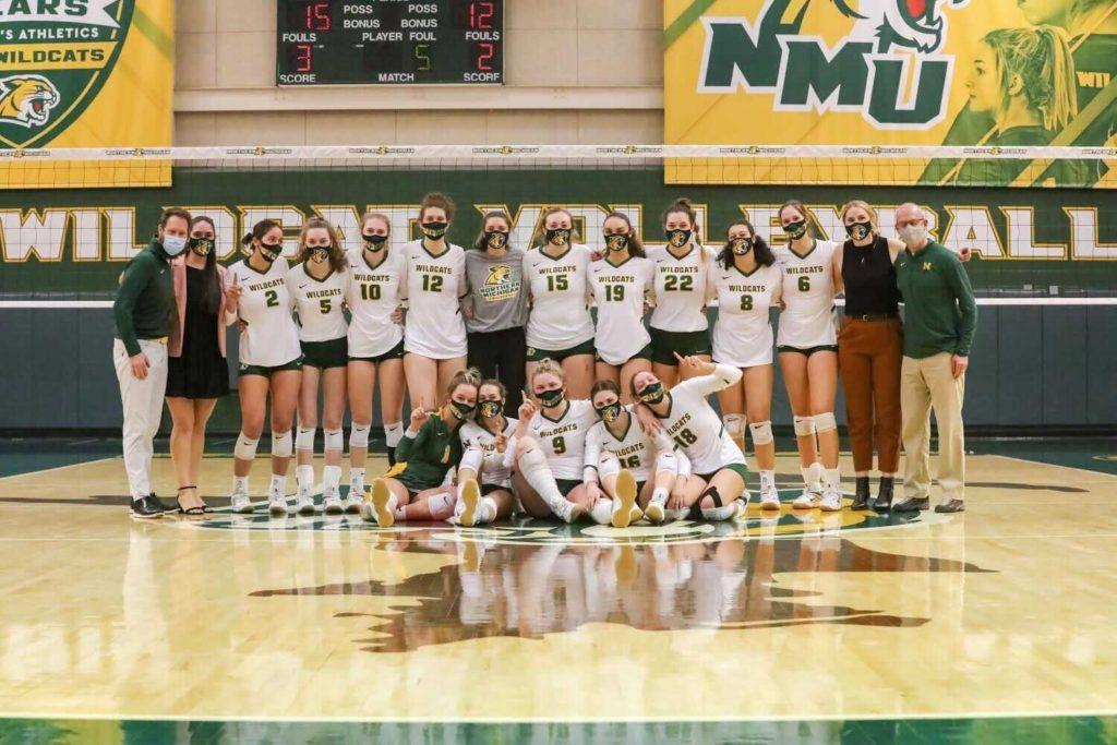 CONFERENCE CHAMPS—The NMU Volleyball team earned a share of the GLIAC title with Michigan Tech after splitting the series against the Huskies this past weekend. The Cats open up GLIAC Tournament play as the second seed. Photo courtesy of Meghan Meyer.