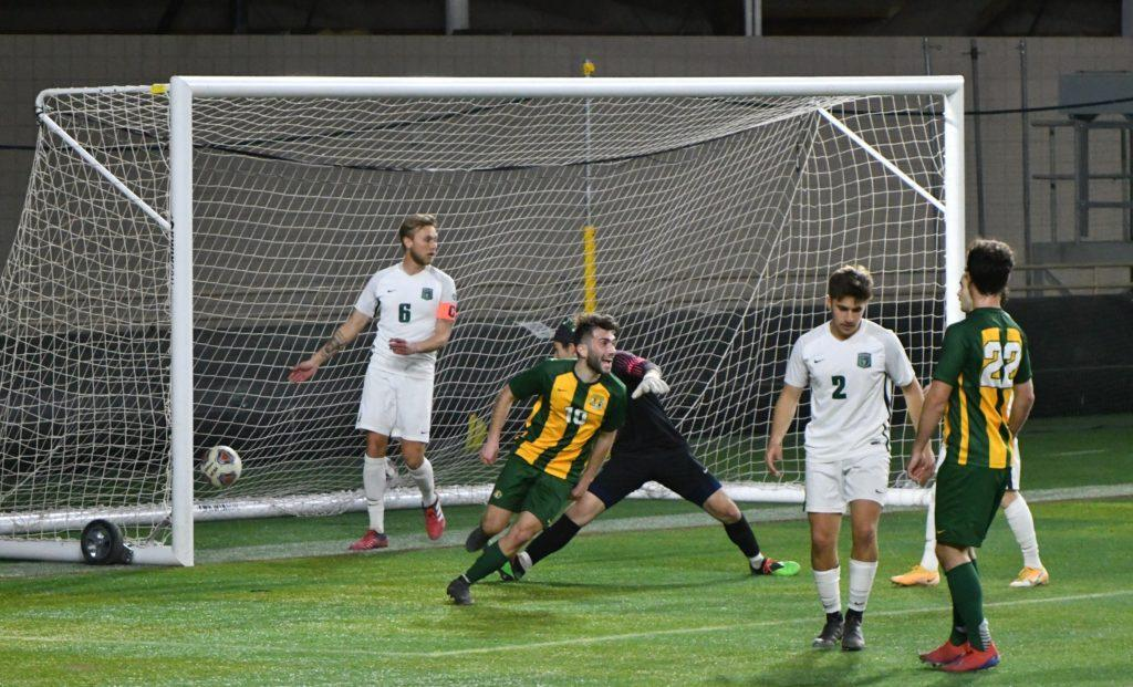 SOCCER SHOWDOWN—Graduate forward Emanuele Ancione celebrates his goal during NMUs 2-1 overtime loss to UW-Parkside on April 18. NMU looks to rebound in the GLIAC Tournament, where the Wildcats will face Davenport in the programs first ever postseason home game. Photo courtesy of NMU Athletics.