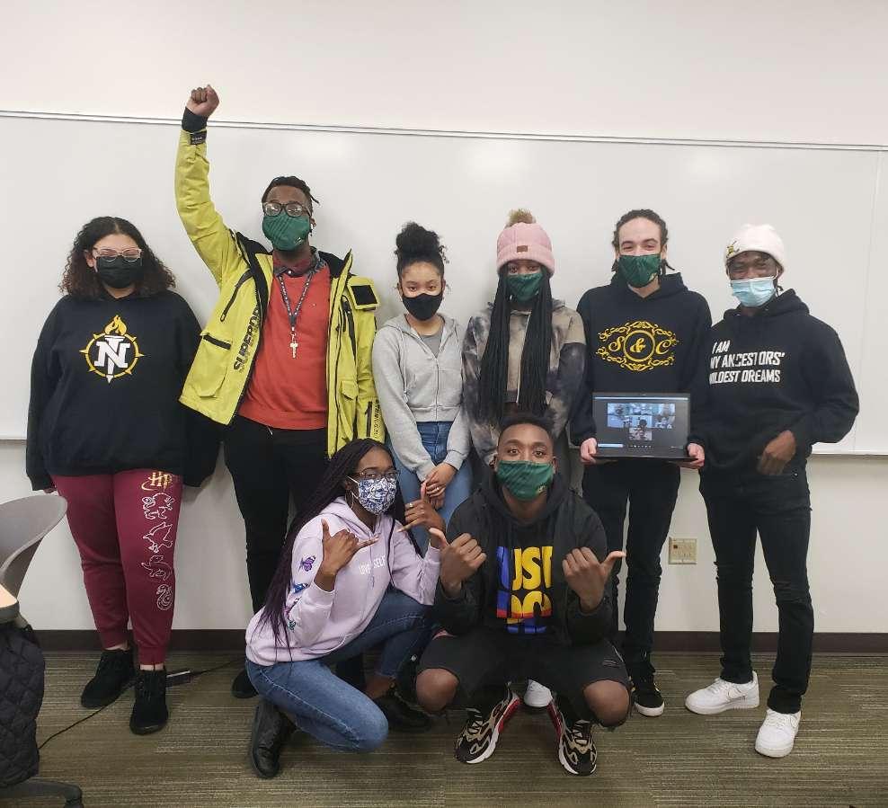 photo of BSU members at the end of one of their weekly meetings