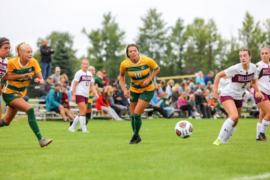 CHATTIN' IT UP—NMU Women's Soccer senior midfielder Caroline Halonen controls the ball during the Wildcats' 5-1 win over Minnesota-Duluth on Saturday. NMU's head coaches took the podium for their weekly press conference this past Tuesday. Photo courtesy of NMU Athletics.
