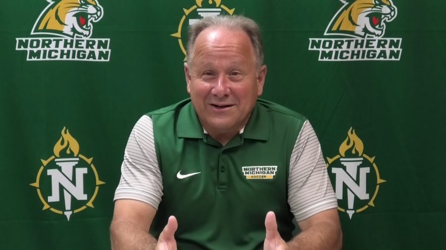 FALL SPORTS PRESSER—NMU Mens Soccer Head Coach David Poggi was one of five Wildcats fall sports head coaches to take the podium for the first press conference of the season. Photo courtesy of NMU Athletics.