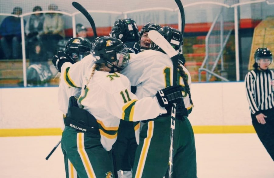 NICE TO BE BACK ON THE ICE—The NMU Women's Hockey team celebrates on the ice in a previous season. Now with the 2021-22 season set to begin, the Wildcats look to celebrate more. Photo courtesy of Faith Delgado.