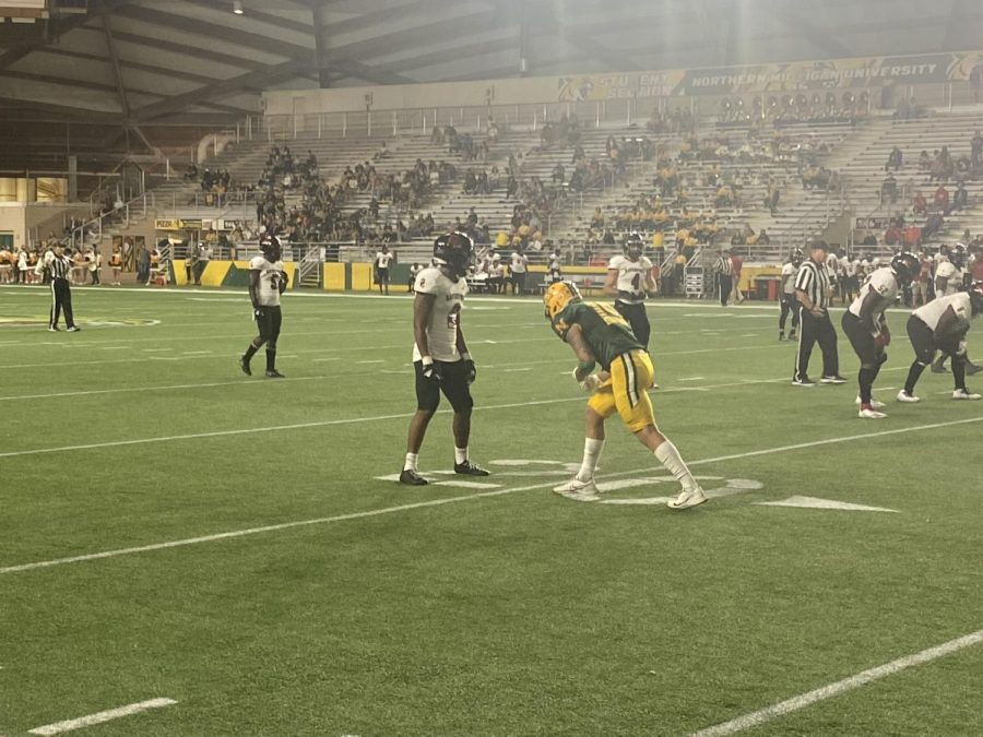 WINNER, WINNER—NMU wide receiver Wyatt Davis lines up on the outside during Saturdays 20-14 win over Davenport. NMU is now 2-1, and will begin conference play next weekend. Travis Nelson/NW