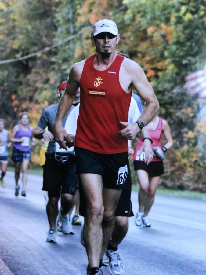 MANY%2C+MANY+MARATHONS%E2%80%94James+Engel+has+now+run+219+marathons+after+his+latest+at+the+Marquette+Marathon+on+Saturday%2C+Sept.+4.+It+was+a+special+one+for+the+former+NMU+football+player+being+greeted+by+current+Wildcat+athletes+at+the+eight+fuel+stations.+Photo+courtesy+of+James+Engel