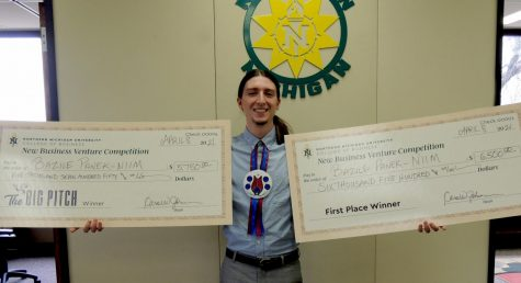 STARTING YOUNG - Bazile Panek wins the written business plan and business plan presentation sections for NMU's New Business Venture competition with his business Niim. Niim creates socks with traditional designs by Indigenous artists that combine Western and Indigenous professionalism.