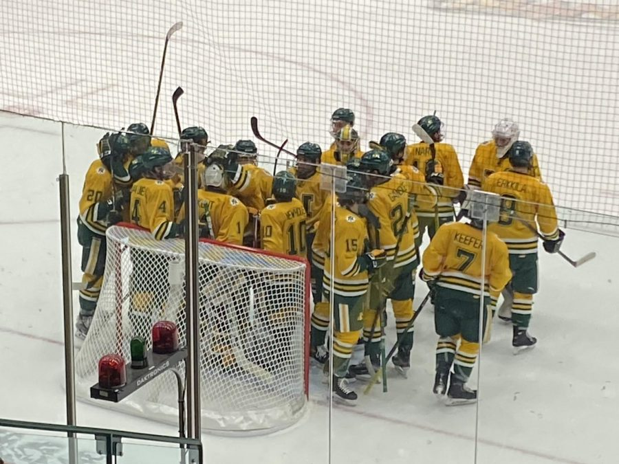 BACK IN A JAM-PACKED BEC—The NMU Hockey team celebrates a victory over Ferris State at home on January 30, 2021. That game was in front of barely any spectators, but the Berry Events Center will be full for the season opening series against St. Thomas this weekend. Travis Nelson/NW