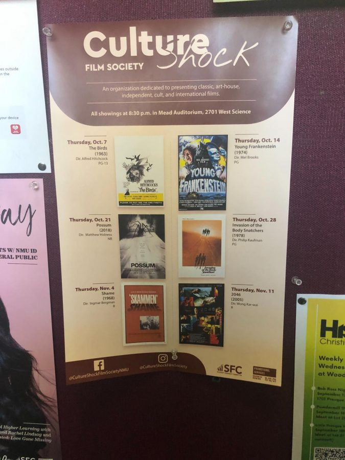 Dreyma Beronja/NW CULTURE SHOCK—NMUs Culture Shock Film Society has posters throughout campus displaying the Fall 2021 film lineup schedule.