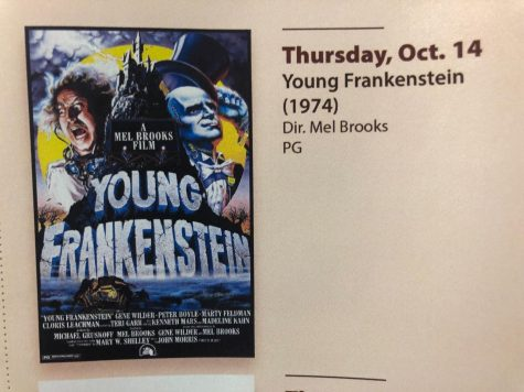 YOUNG FRANKENSTEIN—Culture Shock Film Society will show the 1974 horror-comedy classic Young Frankenstein on Thursday. Posters throughout campus show this semesters film screenings with dates and times.