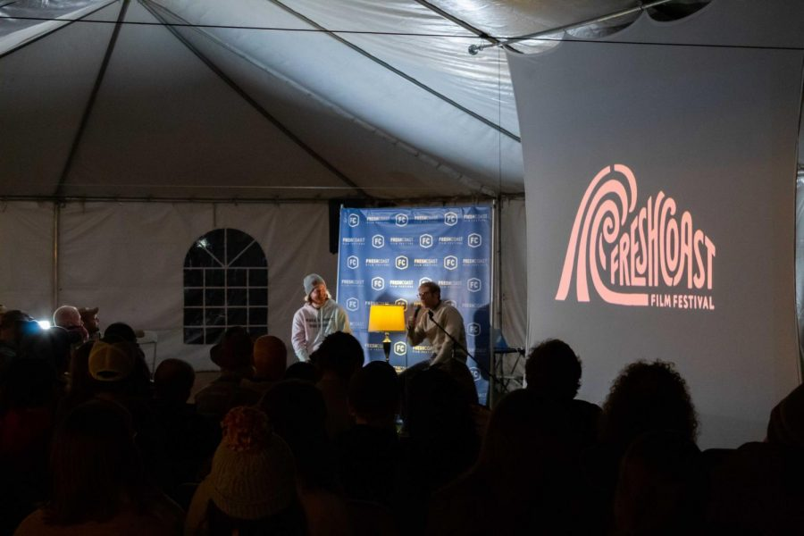 """Joe Pera interacts with the audience after the premiere of his new episode of """"Joe Pera Talks With You on Saturday, Oct. 16. Peras show was one of many shown at the Fresh Coast Film Festival over the course of four days."""