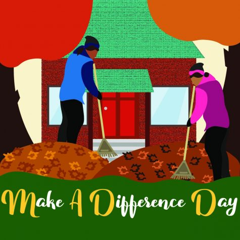 Students prepare to rake leaves in community for Make a Difference Day