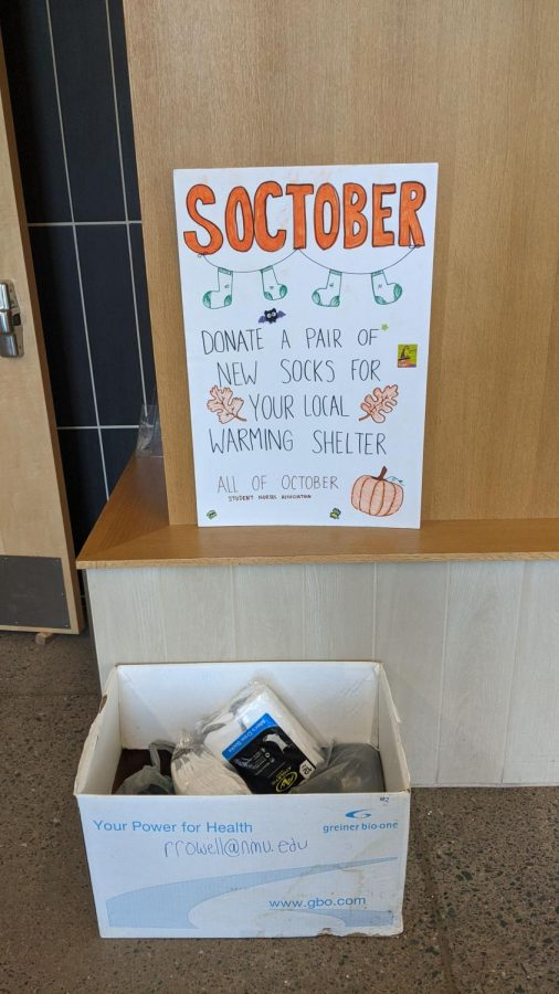 KEEP WARM - NMUs Student Nurses Association collected new socks for those in need during the month of October. They placed collection boxes around campus including in Jamrich, West Science and the dorms.