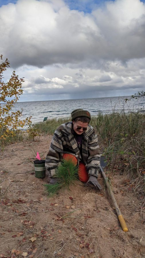 QUEER TREES - Mossy Schumann plants a young pine tree along the Lake Superior shoreline. Schumann organized the PRIDE Tree Planting Event which encouraged queer youth to plant trees together and help restore the eroding shoreline.