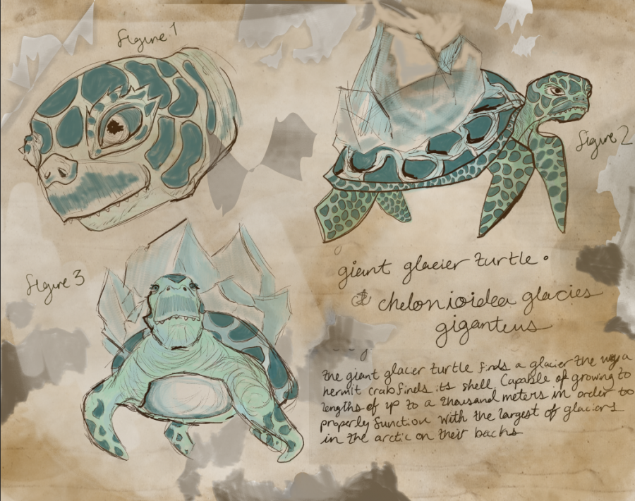 INSPIRED ART - Art student Ilah Wilson created icy turtles inspired by Greg Manchess art in Above the Timberline. The theater department is performing an adaptation of the book that will feature Manchess art in the background.